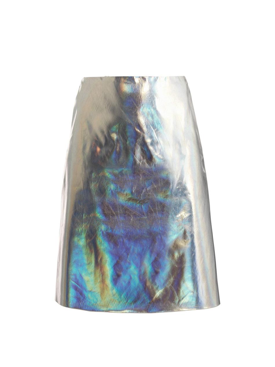 JONATHAN SAUNDERS - Clark silver foil skirt (1)